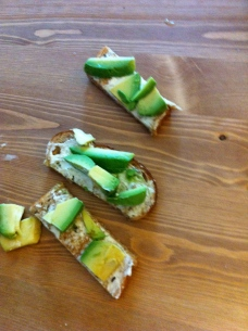 avocado and cream cheese on toast