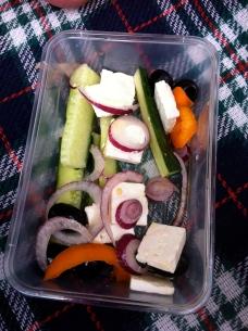 Greek salad in a box