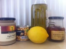 tahini, chickpeas, lemon, oil, sundried tomatoes